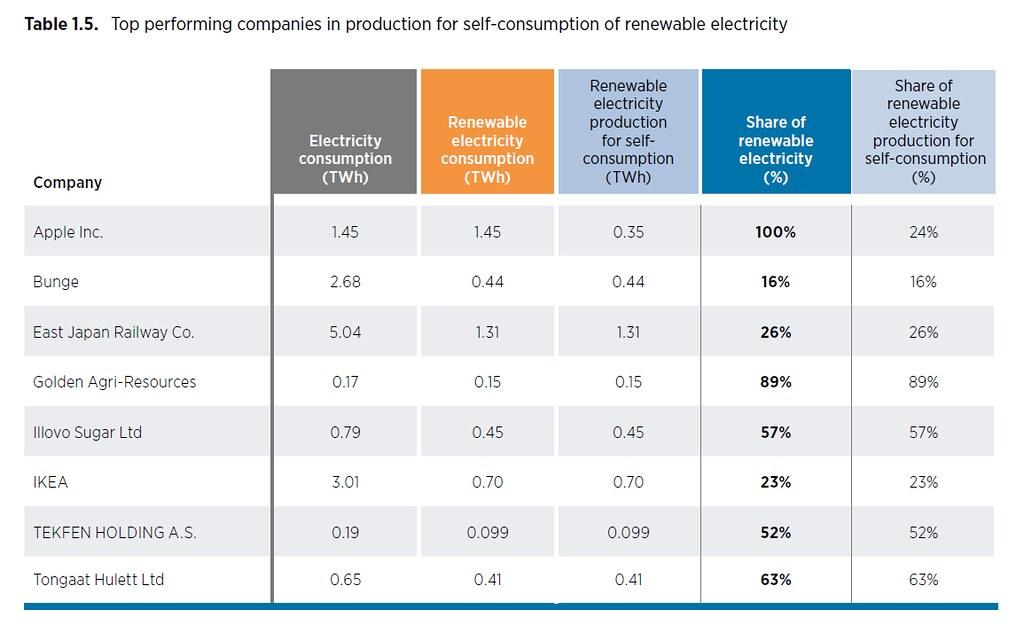 IRENA分析8家「自發自用」指標企業,蘋果不但達成百分百綠能目標,更有24%電力由此而來。資料來源:IRENA
