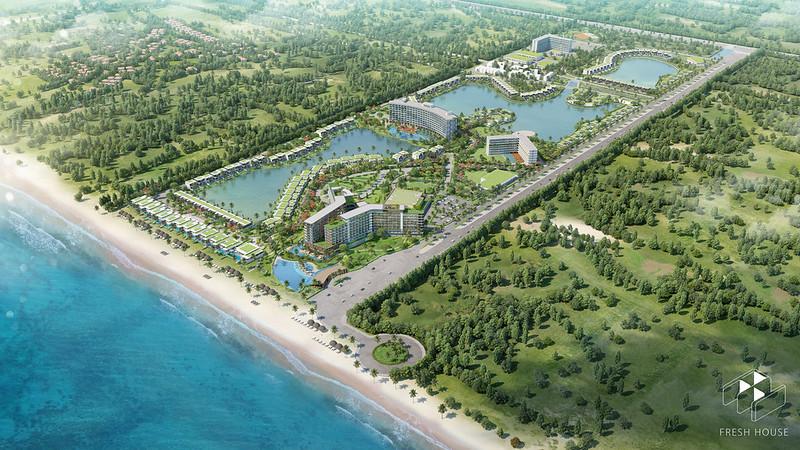 Phối cảnh nhìn từ trên cao bãi biển tuyệt đẹp tại Movenpick Phú Quốc