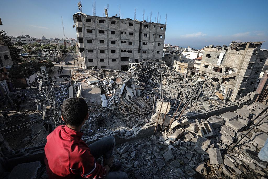 遭以色列轟炸後被夷為平地的阿克薩電視台(Al-Aqsa TV)。(圖片來源:Ali Jadallah/Anadolu)