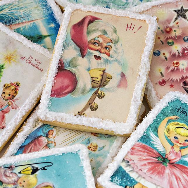 galletas de Navidad decoradas papel azucar vintage
