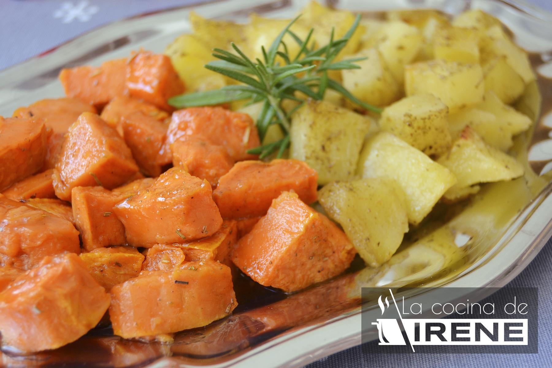 Boniatos y patatas al horno