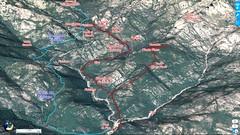 """Photo 3D longitudinale du Haut-Cavu avec l'ensemble du ruisseau du Finicione et le tracé du Chemin du Castedducciu (""""Chemin de la Montagne aux Plages"""") par la RD et sa variante par la RG"""