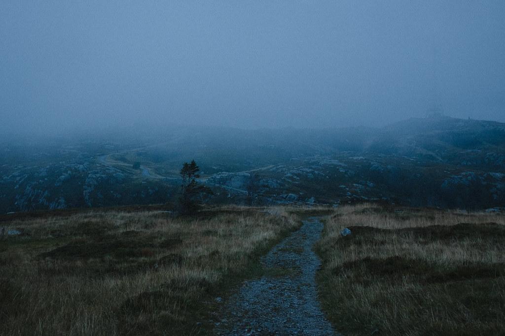 Trails, mountain, mast, fog
