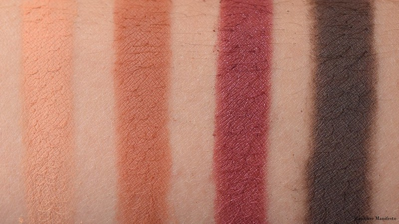 Too Faced Just Peachy Mattes Peaches And Cream, Fresh Picked, Peach Sangria, Chocolate Dipped Swatch