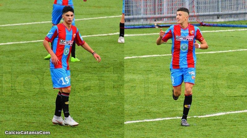 Lorenzo La Delfa (a sinistra) e Lorenzo Di Stefano (a destra), autori dei goal. (ph: Daniele Sicilia)