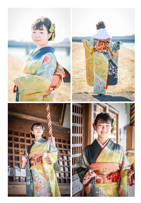 成人式のロケーション撮影 愛知県蟹江町 川の堤防とお寺