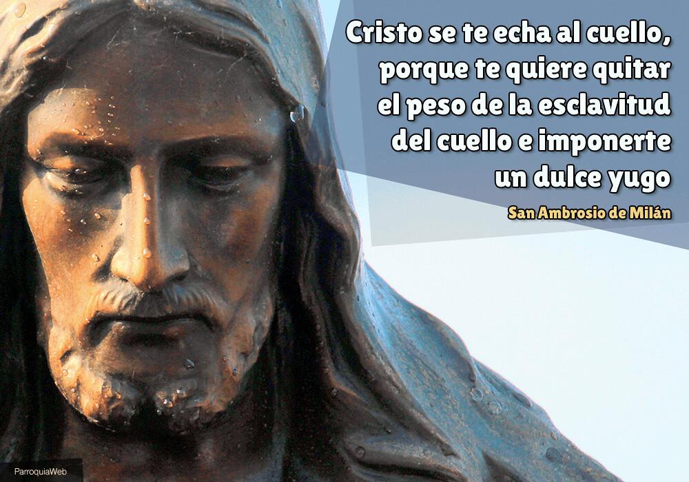 Cristo se te echa al cuello, porque te quiere quitar el peso de la esclavitud del cuello e imponerte un dulce yugo - San Ambrosio de Milán