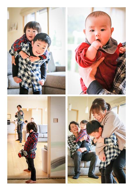 男の子3兄弟の家族写真 ご自宅へ出張撮影