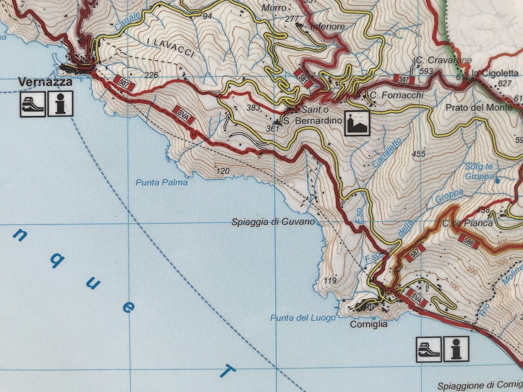 Italy Map Cinque Terre.Italy Cinque Terre Map Showing The Trails Red And Ro Flickr