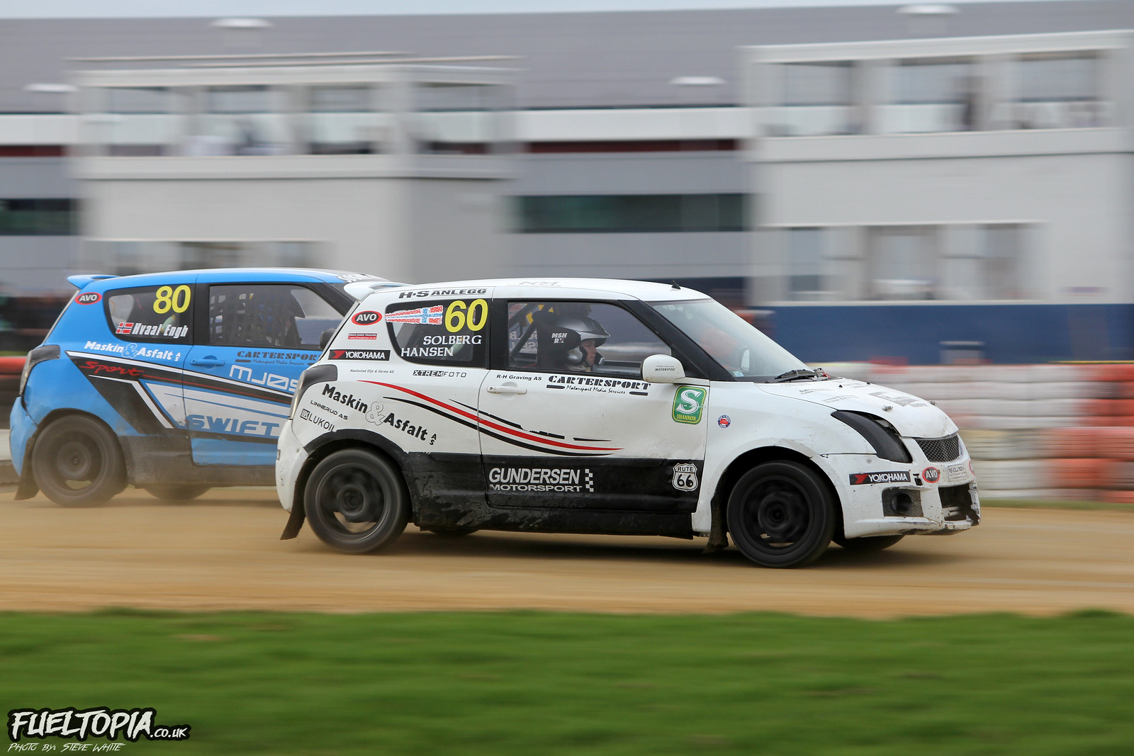Suzuki Swift Marius Solberg-Hansen Kristiane Hvaal Engh Silverstone BRX British Rallycross Championship 2018 Steve White Fueltopia