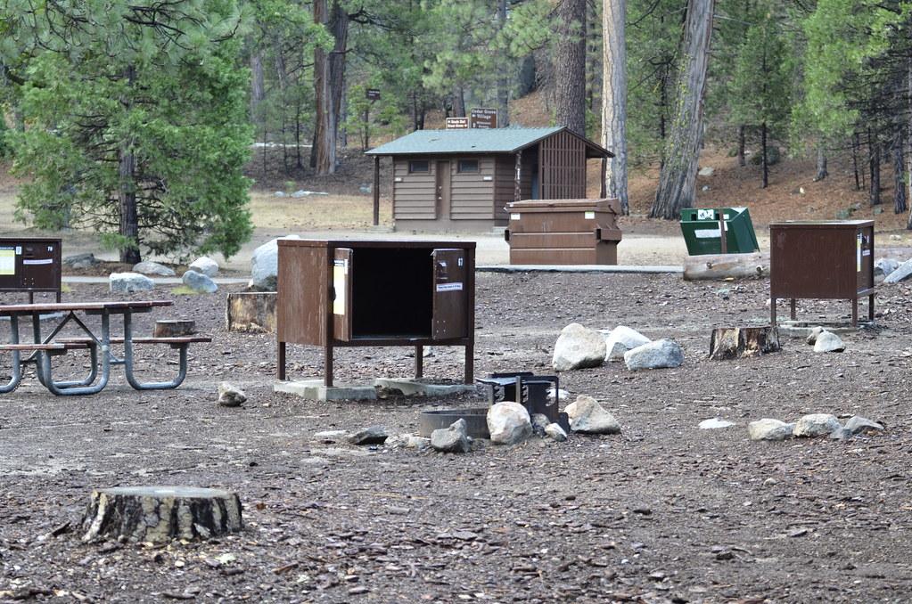 前方的箱子是防熊箱,後方的建築物是洗手間,洗手間外通常會附設一個專門用來清洗餐具的洗手台。