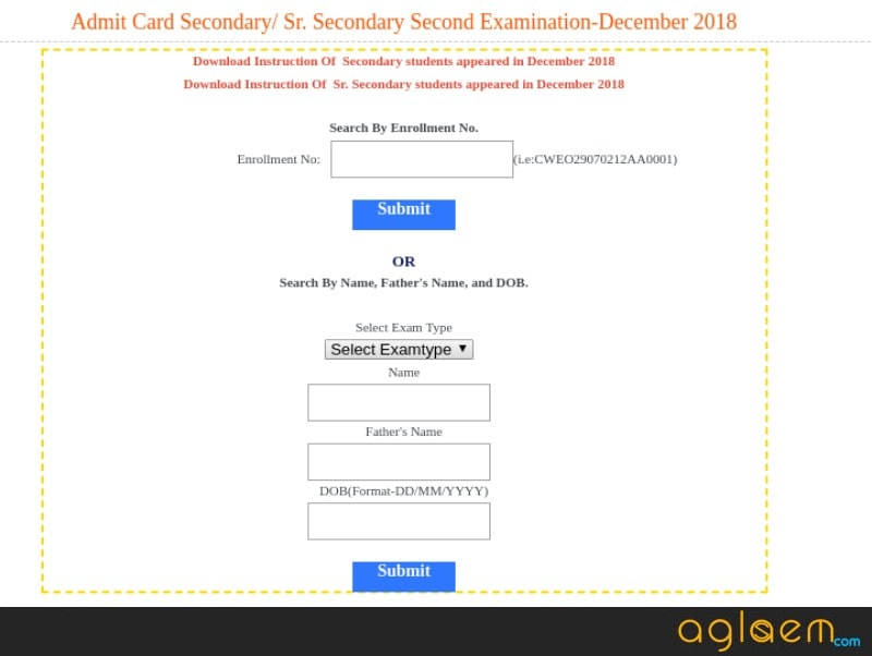 BBOSE 12th Admit Card December 2018