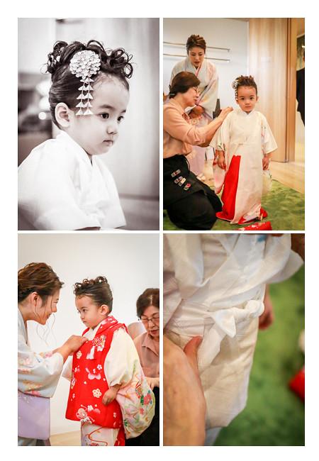 七五三 3歳の女の子 お支度シーン(着物着付け)