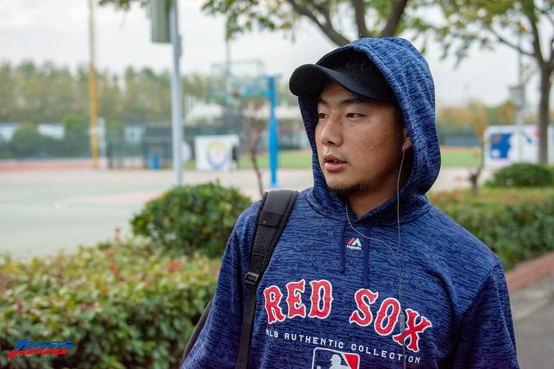 紅襪隊新人聯盟捕手強巴仁增。(特派記者王啟恩/南京現場拍攝)