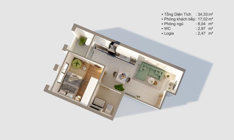 Thiết kế mẫu căn hộ Studio D-One 2