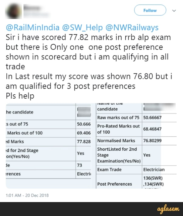 RRB alp revised result 2018 - Candidate compares old and new scores.