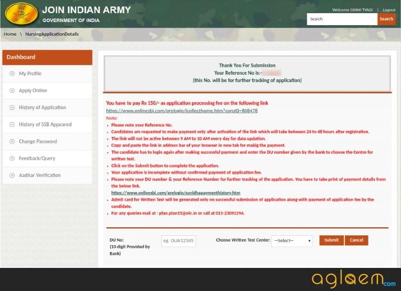 Indian Army BSc Nursing 2020 application fee