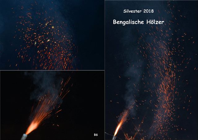 Silvesternacht 2018 / 2019 ... Wunderkerzen, Sternspritzer, bengalische Hölzer ... Fotos und Collagen: Brigitte Stolle