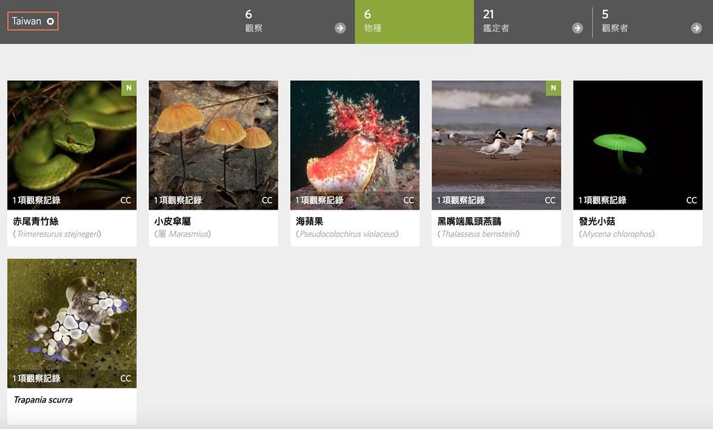 獲選為「每日精選」的台灣觀察記錄