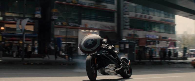 Captain America shield with motorcycle
