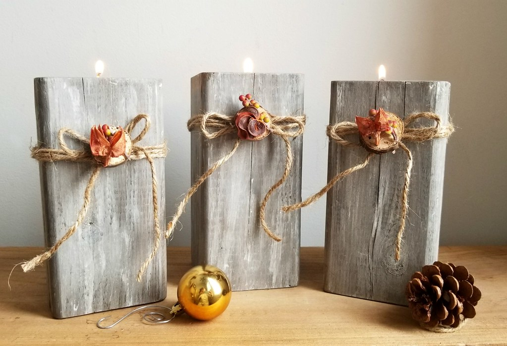 4x4 wooden candle holders