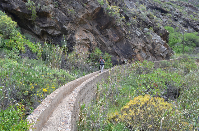 Walking along a water canal, Gran Canaria