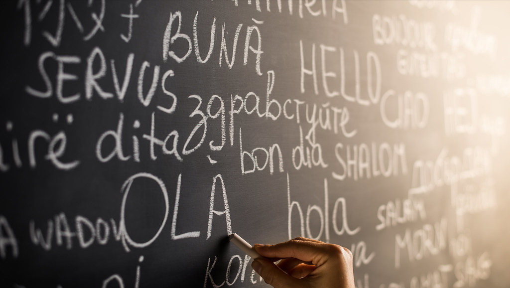 Different languages written on a black board.