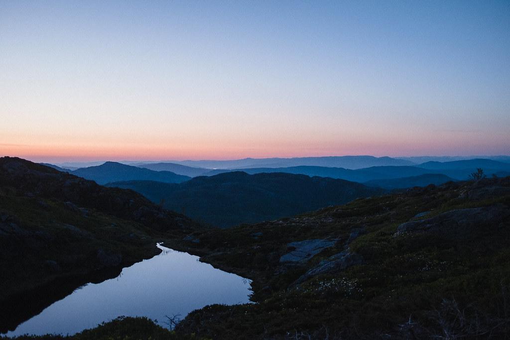 Mountain landscape view, dusk, silouette.