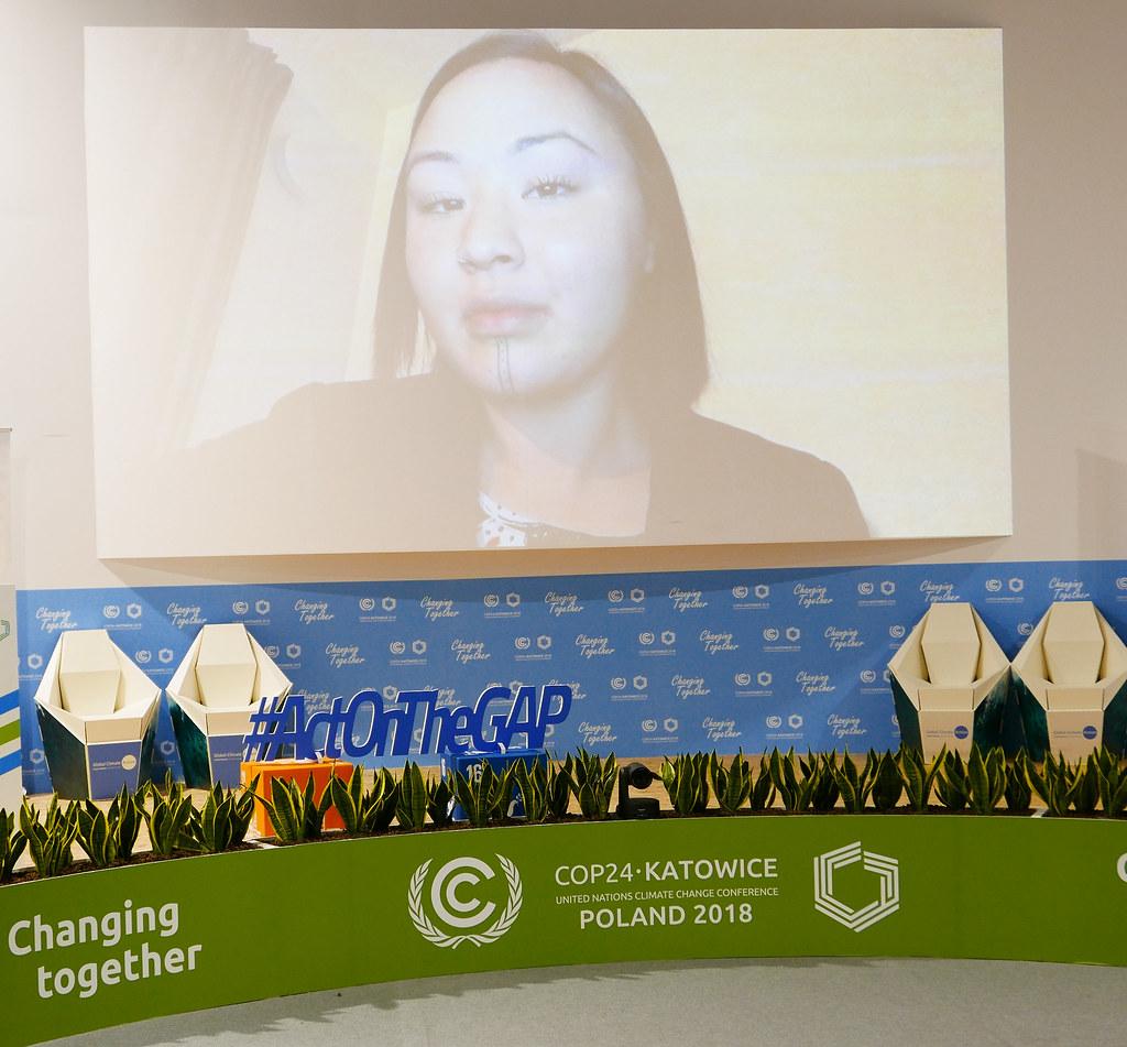 聯合國氣候變遷大會COP24播放Aka Niviâna和Kathy Jetnil-Kijiner的作品「Rise」,Aka Niviâna以錄影致詞。攝影:鄒敏惠