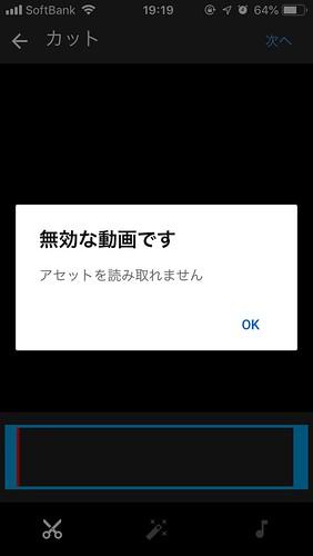 アセットが読み取れない無効な動画