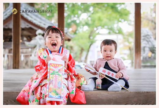 七五三 3歳の女の子と赤ちゃんの妹
