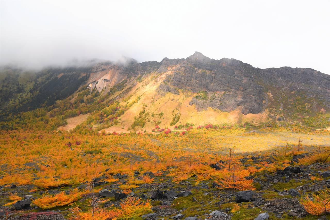 浅間山 賽の河原の紅葉と外輪山