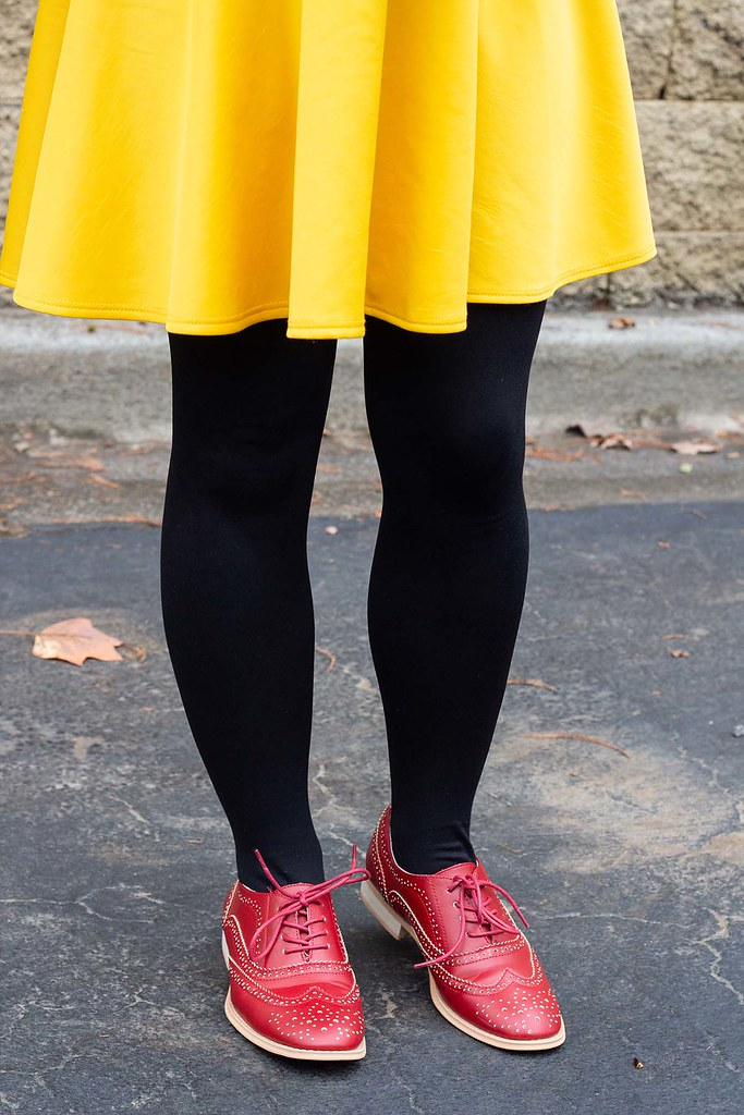Yellow Skirt with Black Tights and Red Brogues