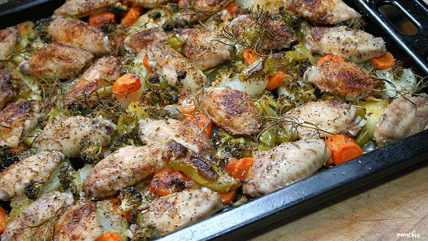 alas de pollo al horno con verduras receta