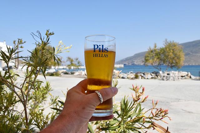 Beer at Ormos Korthiu, Andros