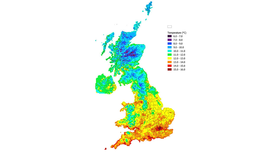 UK map of mean temperature in the 2080s at a 5km by 5km resolution