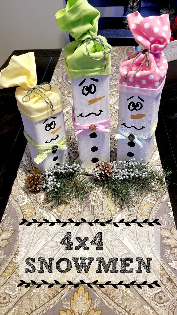 4x4 wooden snowmen