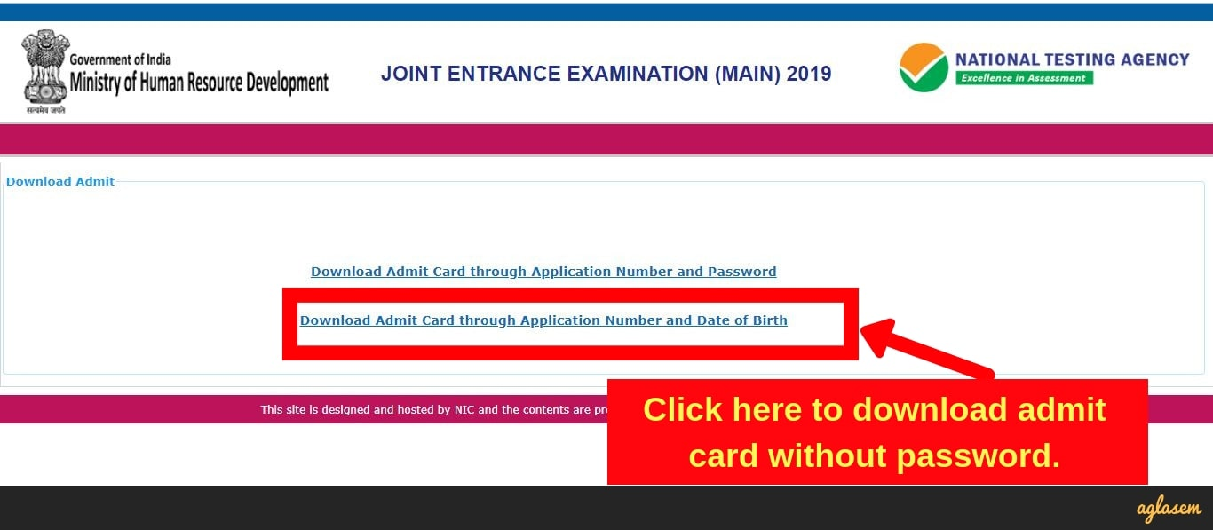 JEE Main Admit Card 2019 Download Without Password - First screenshot