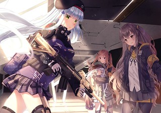 anthropomorphism brown_eyes brown_hair g11_(girls_frontline) girls_frontline gloves gray_hair green_eyes gun hat hk416_(girls_frontline) long_hair pantyhose rosuuri scar skirt twintails ump-45_(girls_frontline) ump-9_(girls_frontline) watermark weapon win | by Ninja Akari
