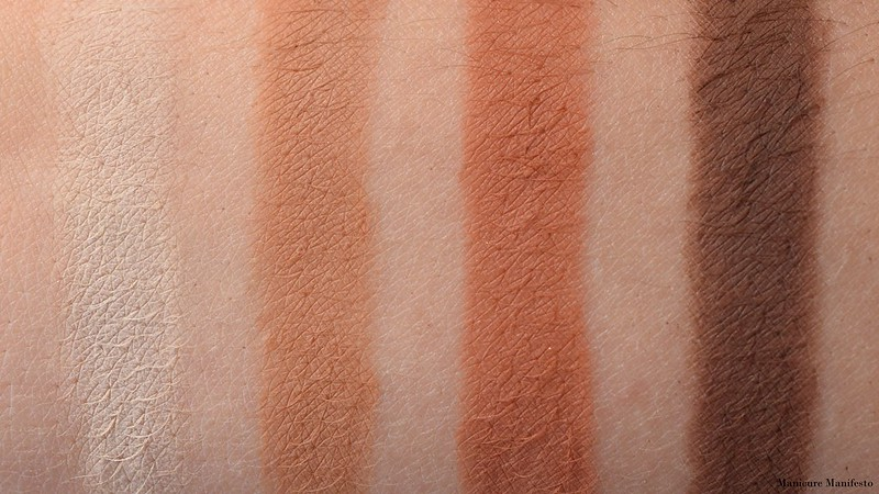 Too Faced Just Peachy Mattes Peach Meringue, Peach Tea, Peach Cobbler, Peach Tart Swatch