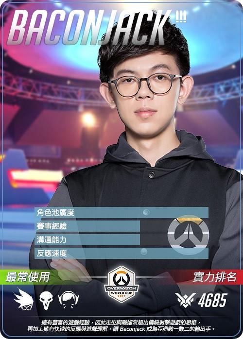 過去曾入選世界盃國家隊的Baconjack成為首位登上OWL的台灣選手。(暴雪提供)