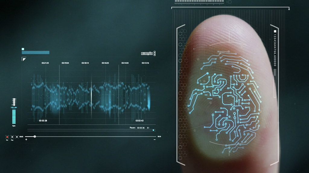 A finger print traced by electronic nodes sends data to a chart