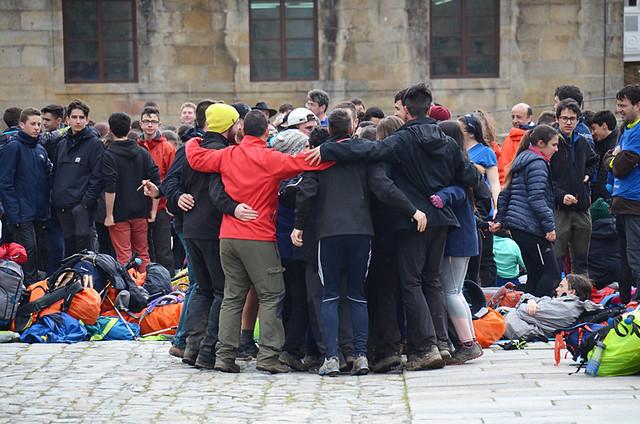 Pilgrims reaching the end of the road, Santiago de Compostela, Galicia