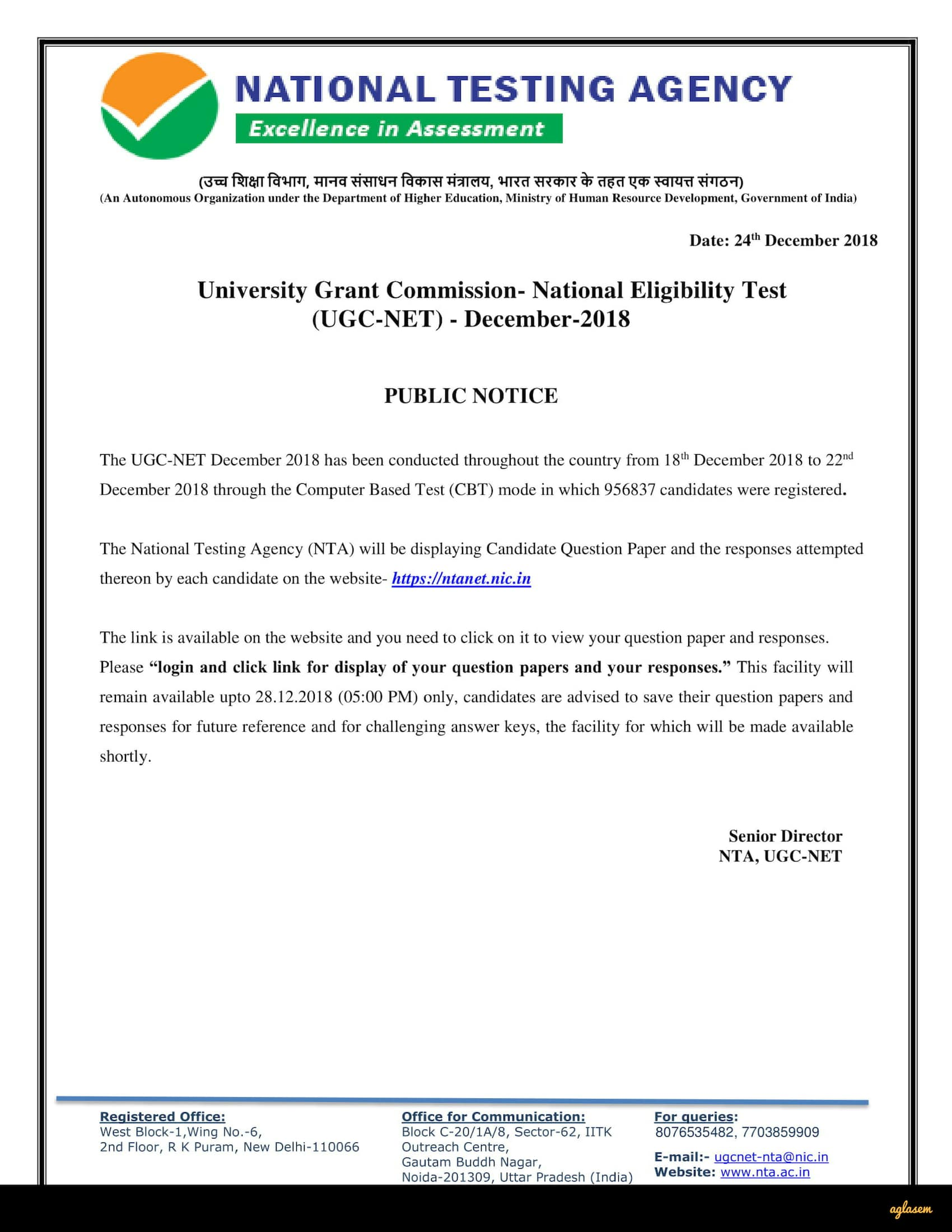 UGC NET Dec 2018 - UGC NET Answer Key, Result