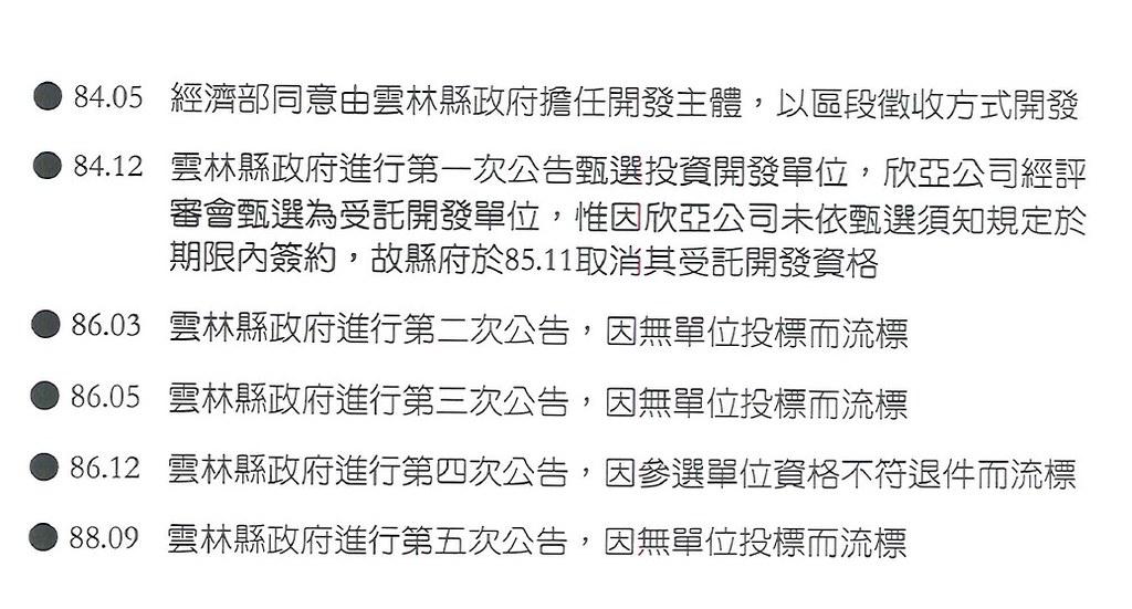台西工業區84年到88年經過五次開發商遴選,五次都流標。資料提供:雲林縣建設處