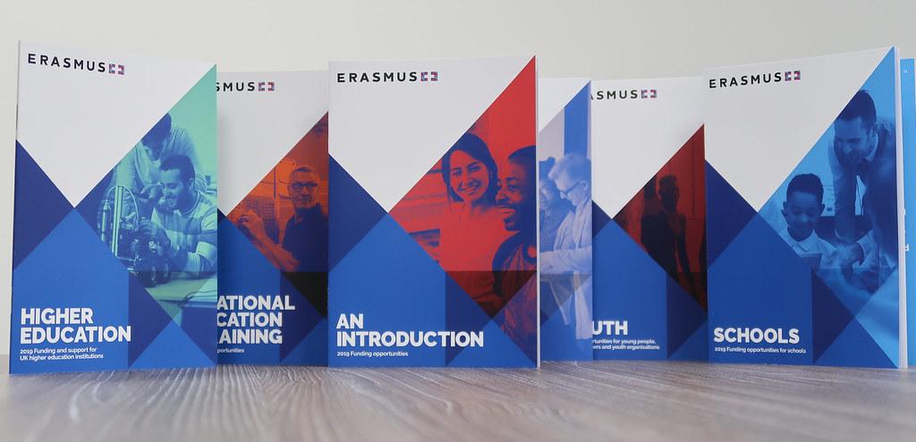 Erasmus+ brochures displayed on table