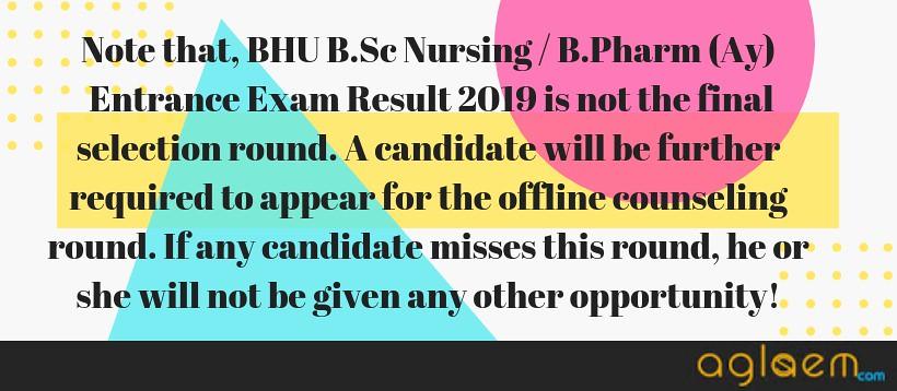 BHU Nusing/B.Pharms(Ay) 2019 Result