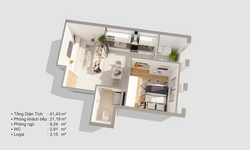 Thiết kế mẫu căn hộ Studio D-One 3