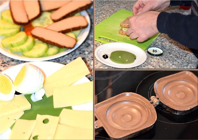 Toastbroteisen ... Toastbrote ... vegetarische Überraschungstoasts - Fotos und Collagen: Brigitte Stolle