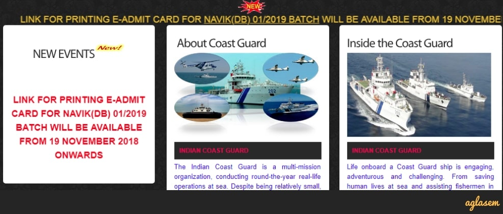 Coast Guard Navik DB Admit Card 2018 01/2019 delayed; Download from 19 Nov 2018